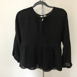 Joie Black 100% silk balloon sleeves peplum blouse